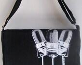 BLACK Vintage/Retro Microphone Print MESSENGER Book Laptop Diaper Bag