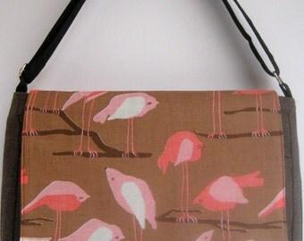 Pink Birds Perched Heather Brown MeSSENGER Book Laptop iPAD Diaper BAG