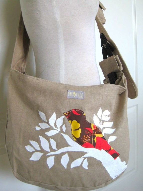 Khaki Tan Sling MESSENGER Bag With Novelty Floral Bird and WHITE Branch