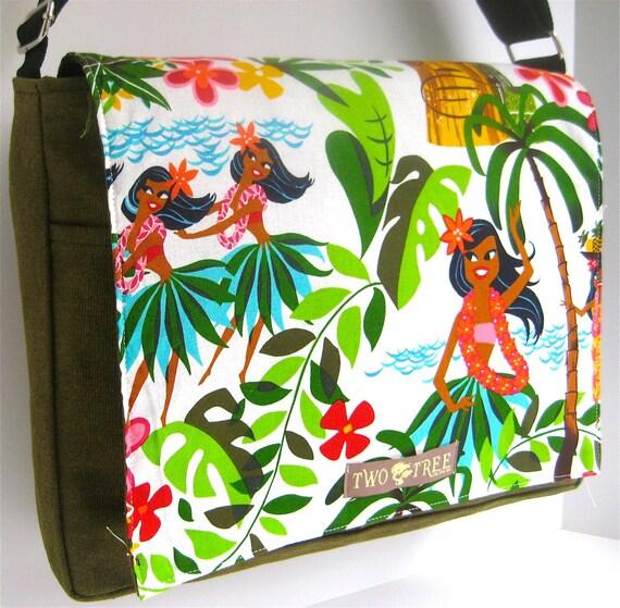 Olive GREEN Hawaii Hula Dancers MESSENGER Book Laptop Diaper BAG