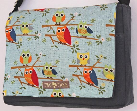 Grey OWLS On A Branch Print MESSENGER ipad Laptop Diaper BAG