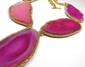 Statement necklace Fuschia Hot pink Agate Geode Druzy and gold pink crystal necklace statement jewelry by Ezzaexclusive
