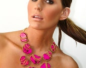 Statement necklace Pink Turquoise chunky statement necklace multiple chain bib necklace statement necklace by Ezzaexclusive