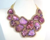 Statement Necklace Purple and Gold Turquoise beaded bib dramatic large boho chic bib necklace