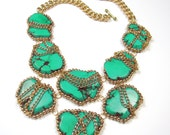 Turquoise Statement Necklace Turquoise and Gold Big Large Chunky Turquoise Stone Statement Necklace