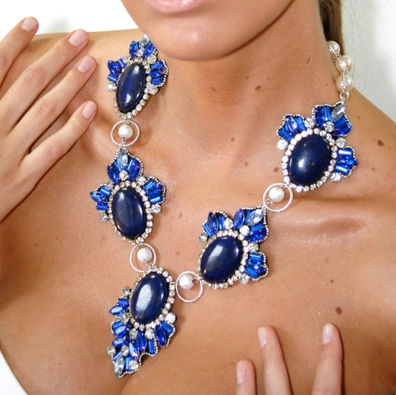Lapis Sapphire Extra Dramatic Bridal Bib Statement Necklace Statement jewelry by Ezzaexclusive