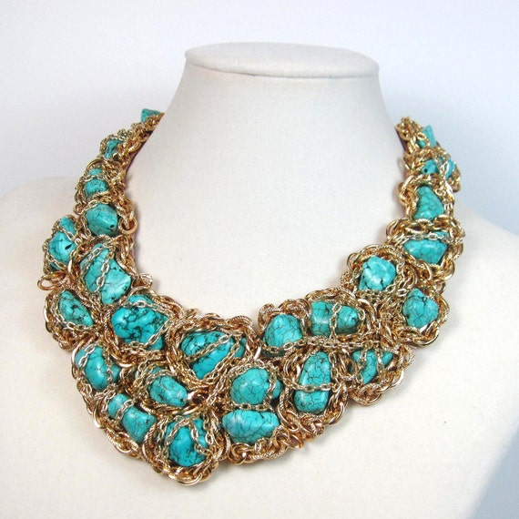 statement necklace turquoise and gold bib collar chains