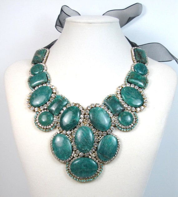 Statement necklace emerald and crystal gemstone beaded bib necklace statement jewelry by Ezza Exclusive