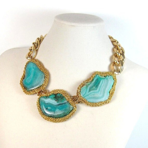 Statement necklace turquoise green geode agate and gold statement necklace Statement jewelry by Ezzaexclusive