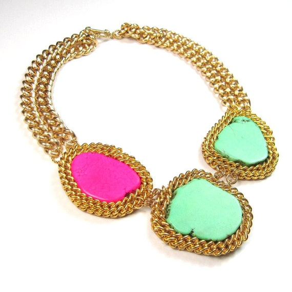 Statement necklace colorblock turquoise pink and green turquoise and gold chain statement necklace