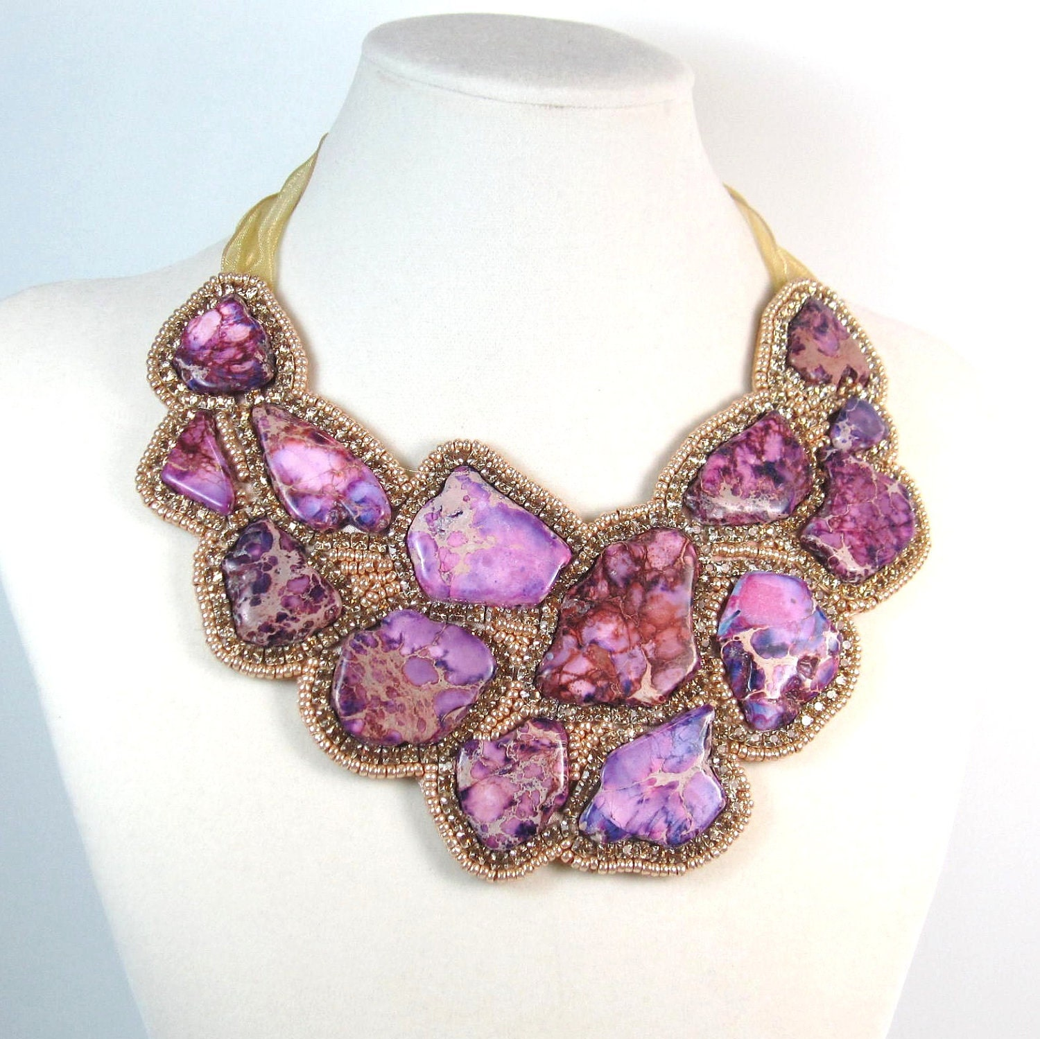 Purple Bib Statement Piece Necklace for Women sold by DGSCompany. Shop more products from DGSCompany on Storenvy, the home of independent small businesses all over the world.