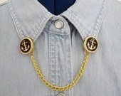black and gold anchor button clip collar chain