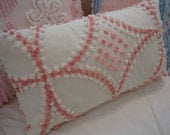 COTTAGE PINK Chenille Pillow, Shabby Chic, Farmhouse, Loft, Bedroom, Throw Pillow, French, Paris, Decorative Pillow
