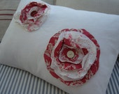 White Denim/18x14 Pillow/PaRiS Cottage PiLLoW Shabby Chic Red FRaYed Button FLoWer/Decorative Throw Pillow