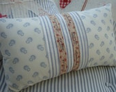 CoTTaGe Blue Ticking Pillow/FLoWeRs/ShaBBy ChiC/PaRiS Ribbon/Lumbar Throw Pillow/Bedroom/Childs Room/12 X 20 Insert