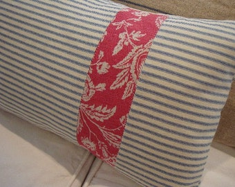 CoTTage FRENCH PiLLoW TicKinG Red TOILE DOWN 12x20 Insert