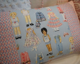 Childs Bedroom Pillow/20x12 Insert/Pink and BluE/CoTTaGe SHaBBY CHIC/Nursery/Decorative Chair Pillow/French Cottage