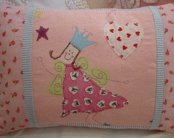 Girls Pillow, Nursery, Pink, Hearts, Angel, Cottage, Shabby Chic, Throw Pillow, Bedroom,