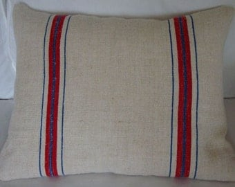 VinTaGE GRaInSAcK Pillow DOWN and FEATHER 14x18 Red and Blue Cottage ShaBBy Chic