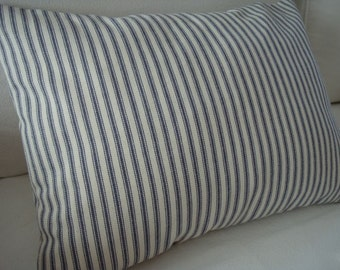 Beach Cottage Charcoal Grey Ticking/Feather and Down/Paris Apartment/ Shabby Chic/Blue Ticking Stripe Pillow
