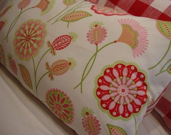 Beach Cottage Pillow/Urban Loft/Paris Apartment/20x12 Shabby Chic/Red Flowers/Ticking/Cotton Throw Pillow/Pink