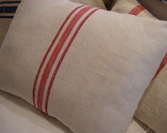 European VinTaGe GRAINSACK 14x18 DOWN INSERT FrenCH Cottage Shabby Chic Red Stripe Pillow
