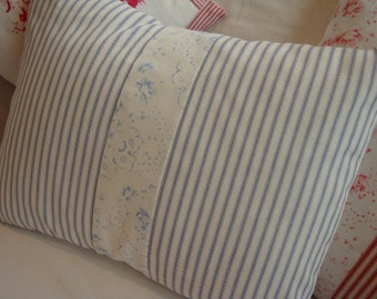 Blue Ticking 14 X 18 French PiLLoW Cottage Roses Shabby Chic Beach Cottage