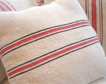 GRAINSACK Pillow 14x18 Cottage Paris Shabby Chic Red Black Stripe