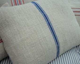 DOWN VinTaGe GRAINSACK Cottage Paris Shabby Chic Blue Stripe and Ticking  PiLLoW