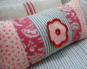 French Cottage Pillow/22x12 Down/RoSeS/Cranberry ToiLe/TiCKiNG/PaRiS French/Cottage Shabby Chic/Farmhouse/Urban/Lumbar/Bedroom