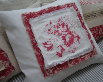 Cottage Pillow PaRiS French ReD Toile Shabby Chic CaBBaGe RoSes