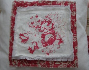 """Cottage 20"""" Down Pillow PaRiS French ReD Toile Shabby Chic CaBBaGe RoSes Bedroom Nursery"""