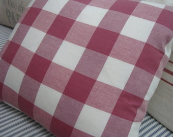 """RaspBeRRy FReNcH CHeCK PiLLoW CoTTagE ShaBBy CHiC LiNeN  18""""  Insert"""