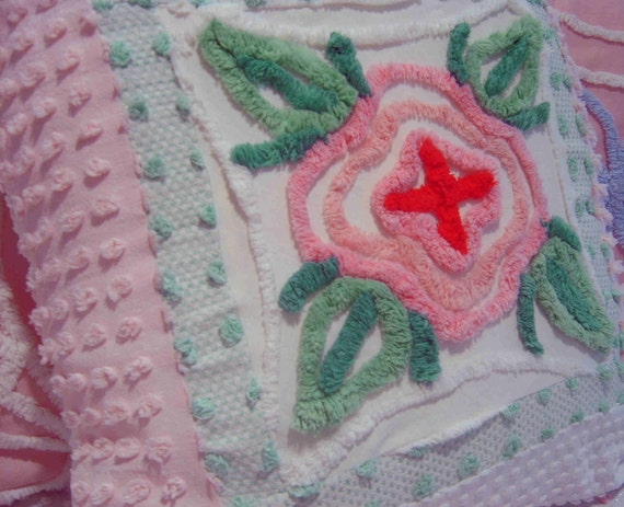 Shabby Chic Chenille Pillows : Vintage Chenille Fabric PiLLow Shabby Chic French Cottage PinK