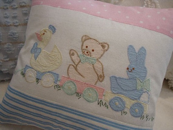 Shabby Chic Blue Pillows : BABY SHaBBy Chic PiNk and BLuE CottAgE PiLLoW by Sassycatcreations
