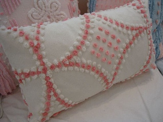 COTTAGE PINK Chenille Pillow Shabby Chic Farmhouse Loft