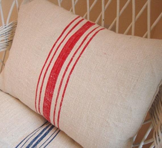 European Vintage GRAIN SACK Cottage Paris Shabby Chic Red Stripe 14x18 PiLLoW InSert