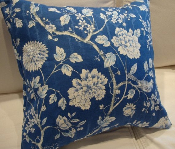 Shabby Chic Blue Pillows : CoTTage ShaBBy CHiC PiLLoW/FrenCH BLuE CHiNtZ 18