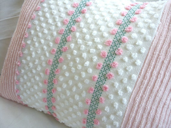 Shabby Chic Chenille Pillows : ViNTaGE CHeNiLLe 14x18 Cottage Shabby Chic Piink White PiLLoW