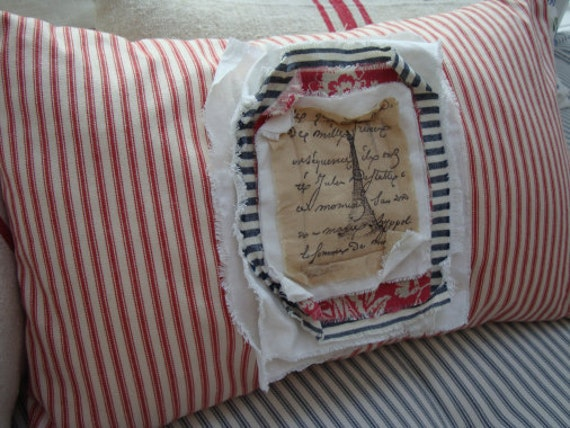 PaRiS French ReD Ticking PiLLoW Cottage Shabby Chic Distressed 12x20 Insert