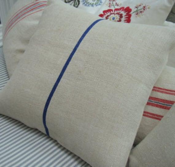"""18"""" European Vintage Grainsack Cottage Paris Shabby Chic Blue Stripe Pillow"""