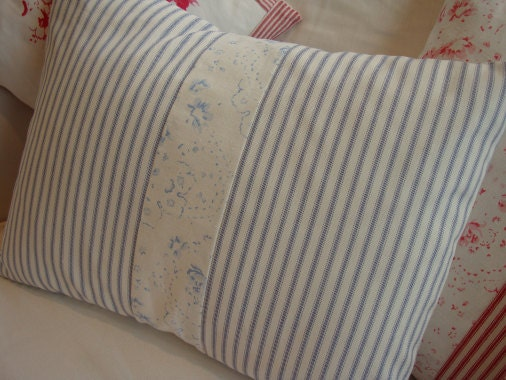 Shabby Chic Beach Pillows : Blue Ticking 14 X 18 French PiLLoW Cottage Roses Shabby Chic