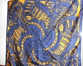 Vintage Vera blue gold swirl scarf