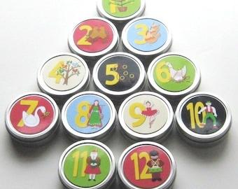Advent Calendar - Magnetic Tin Countdown Twelve Days of Christmas Reusable