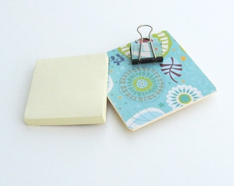 Magnetic Sticky Note Holder - Abstract on Blue