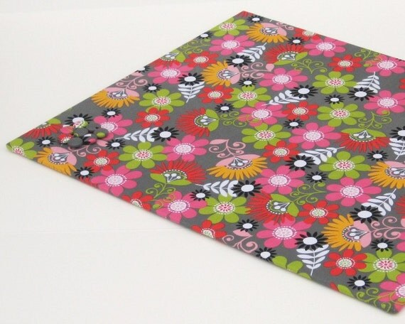Sale!! Wall Mount Magnet Board 18 inch x 24 inch No Frame - Bright Flowers on Gray fabric- Ready to ship Magnet Board