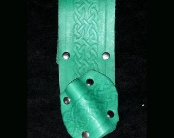 GREEN Belt HOLSTER for Magic WANDS, Handmade, Leather, sca, Renaissance