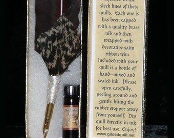 WIZARD Magic QUILL Feather Dip Pen with Scent INK Set Handmade