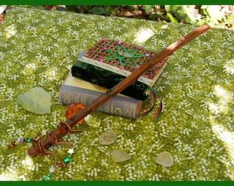 Wildewood FAIRY MAGIC WAND, Brown Suede Grip, Slight Curve, Handmade, Real