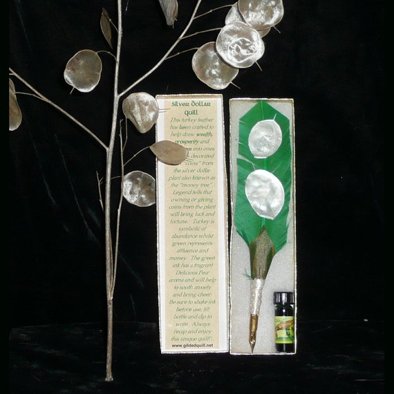 SILVER Money Tree Handmade QUILL Pen With Pear SCENTED Ink
